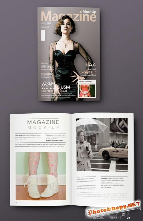 Pixeden - Overhead View Magazine Mockup