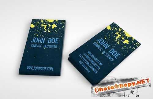 Grunge Splatter Business Card PSD Template 2