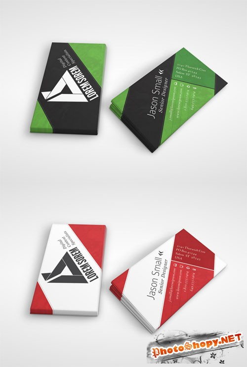 Diagonal Lines Business Card PSD Template