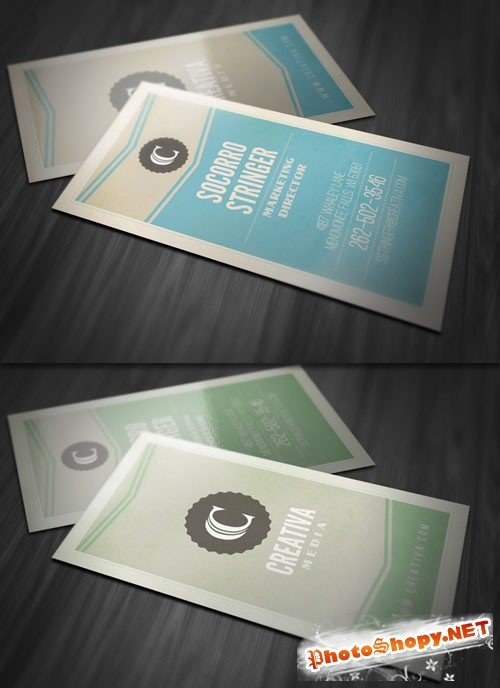 Vintage Vertical Business Card PSD Template