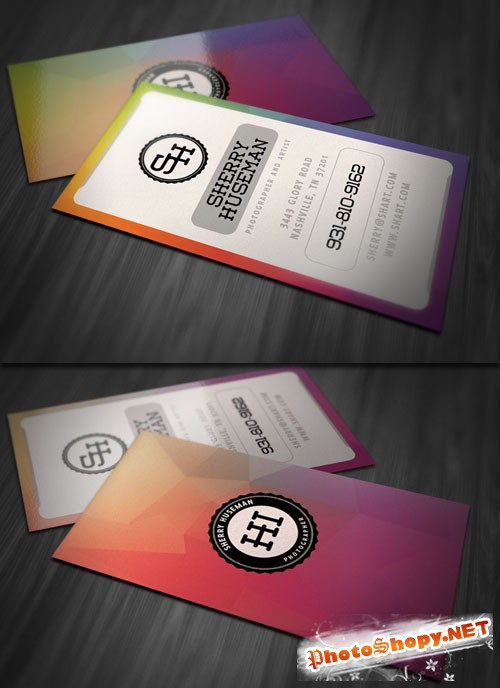 Vertical Style Business Card PSD Template