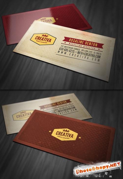 Retro Textured Business Card PSD Template