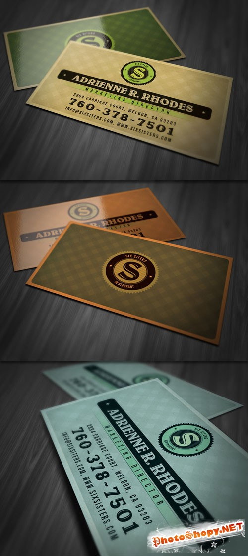 Retro Patterned Business Card PSD Template