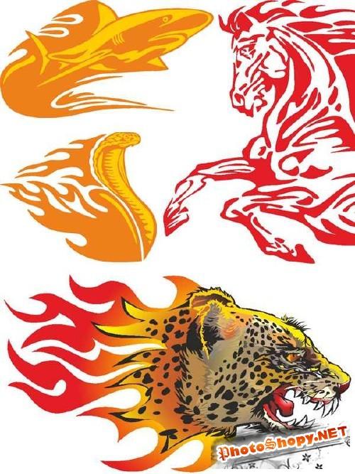 Векторные животные в огне