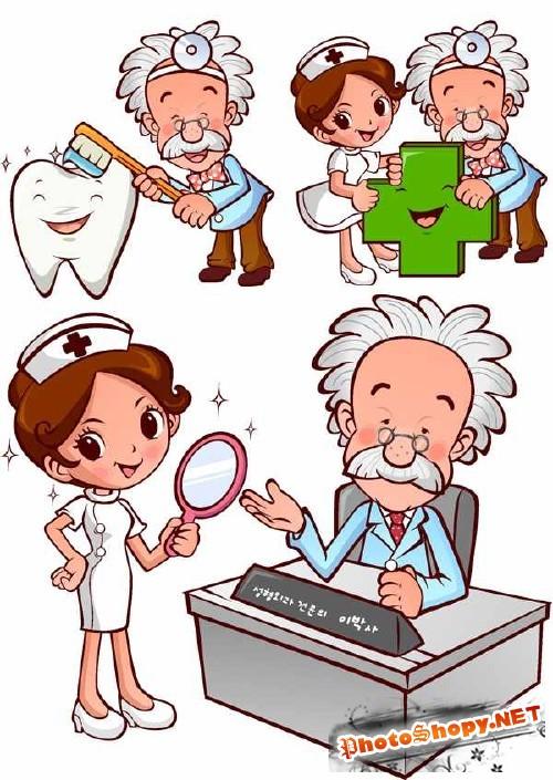 Больница, врач и медсестра в векторе