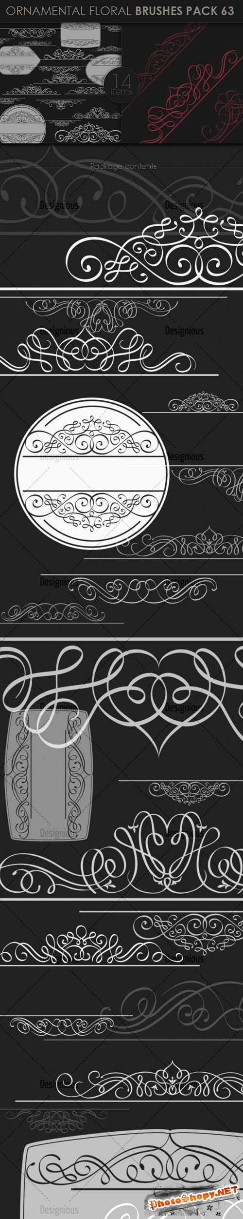Ornamental Floral Photoshop Brushes Pack 63
