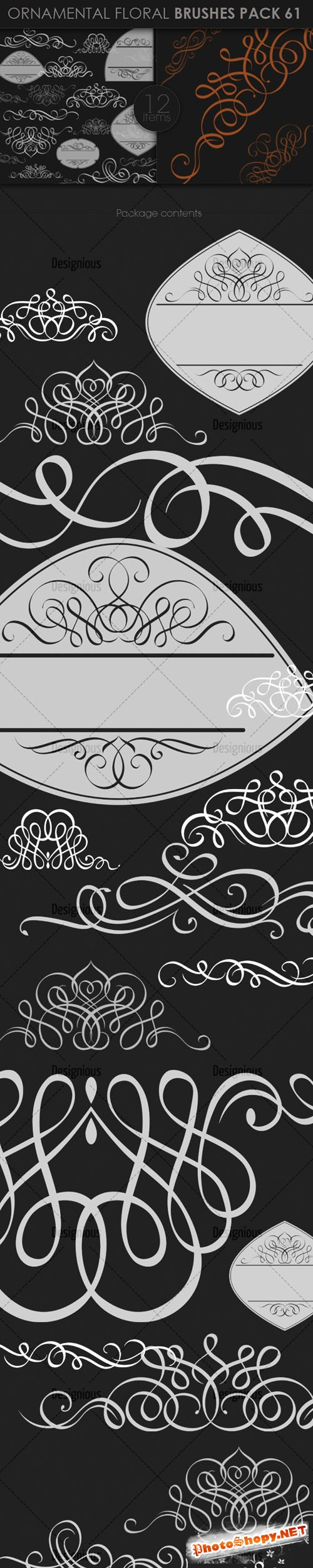 Ornamental Floral Photoshop Brushes Pack 61