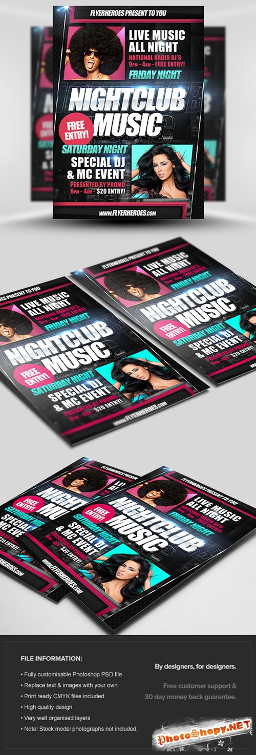 Nightclub Music Flyer/Poster PSD Template