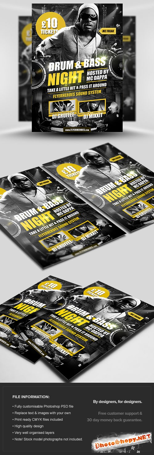 Drum & Bass Flyer/Poster PSD Template