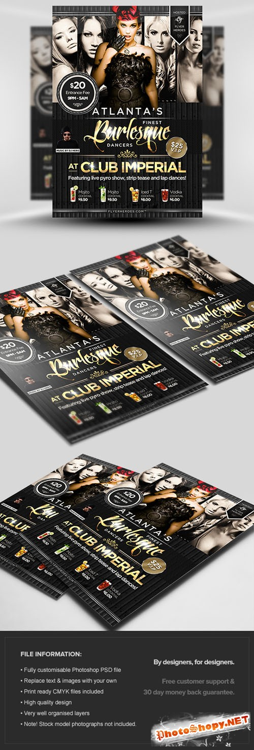 Burlesque Flyer/Poster PSD Template