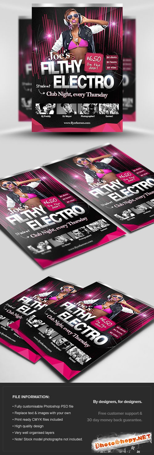 Joe's Filthy Electro Flyer/Poster PSD Template