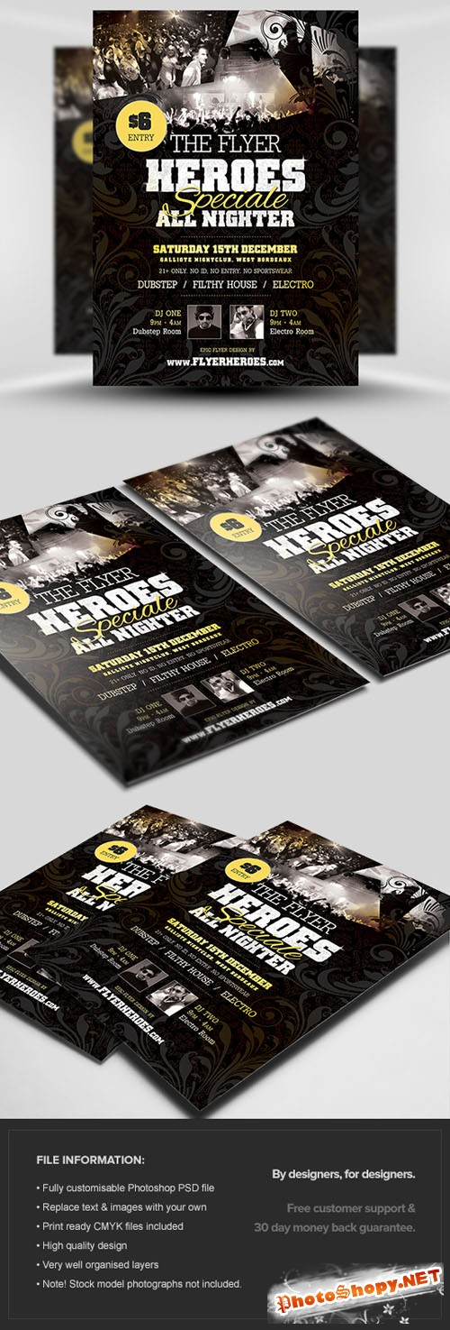 Heroes Special Party Flyer/Poster PSD Template