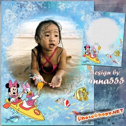 Детская морская рамка - Путешествие морскими волнами