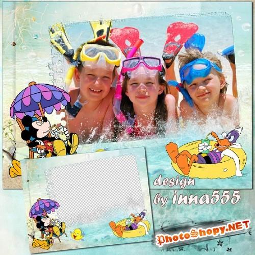 Детская морская рамка с мультяшными героями - Прохладное наслаждение