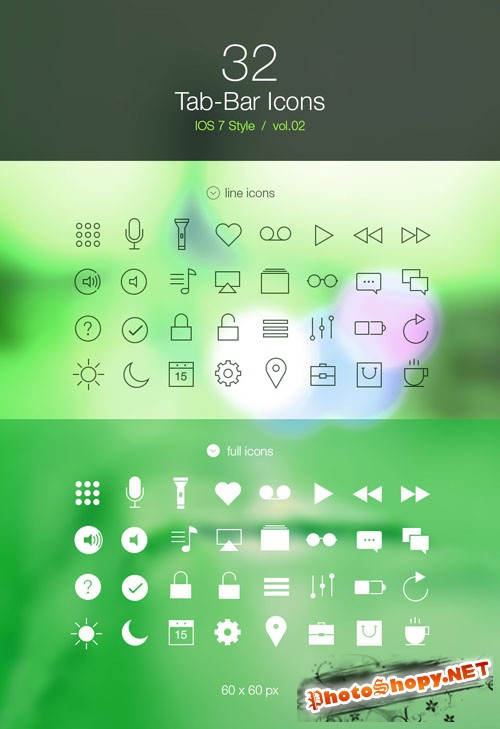 Pixeden - Tab Bar Icons iOS 7 Vol2