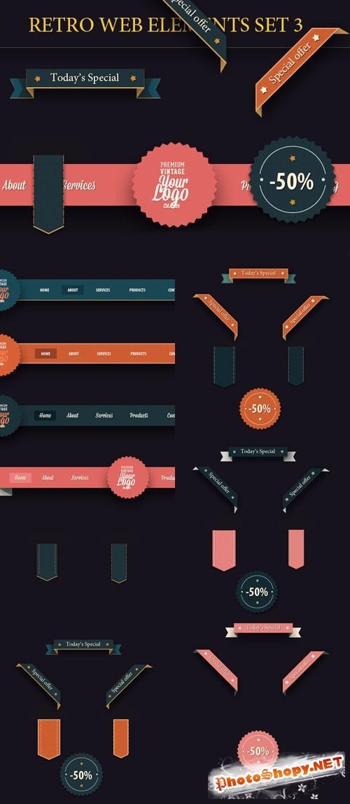 Designtnt - Retro Web Elements Set 3