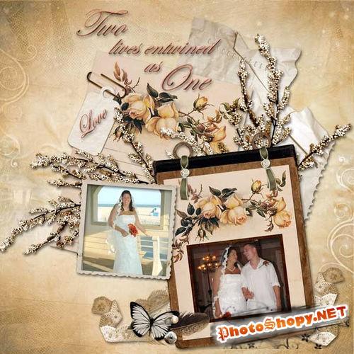 Свадебный винтажный набор для скрапбукинга - Розовая свадьба