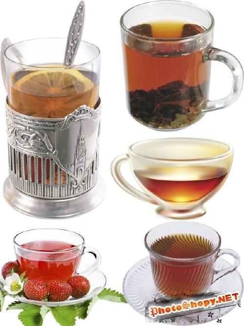 Стаканы и чашки с чаем