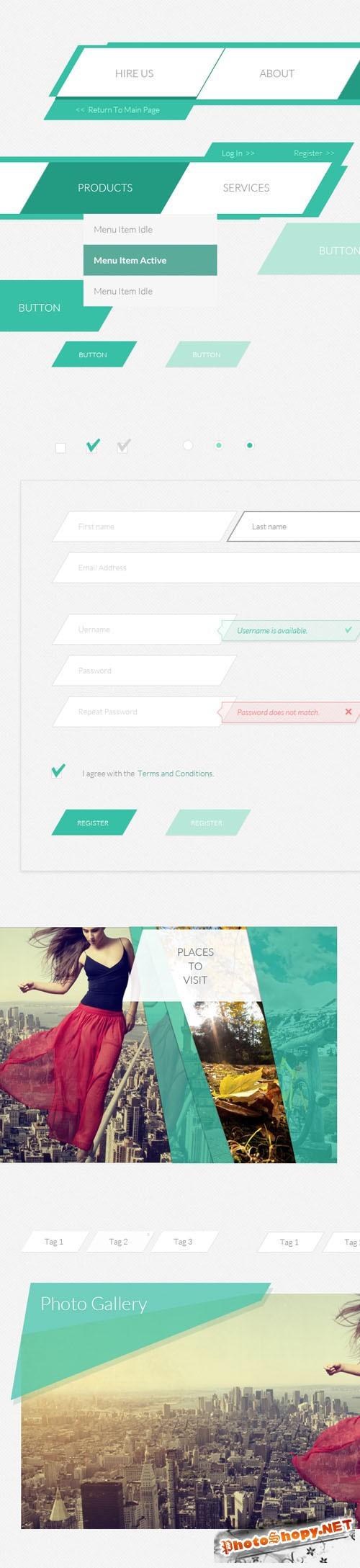 Flat Korigami UI Kit PSD Template