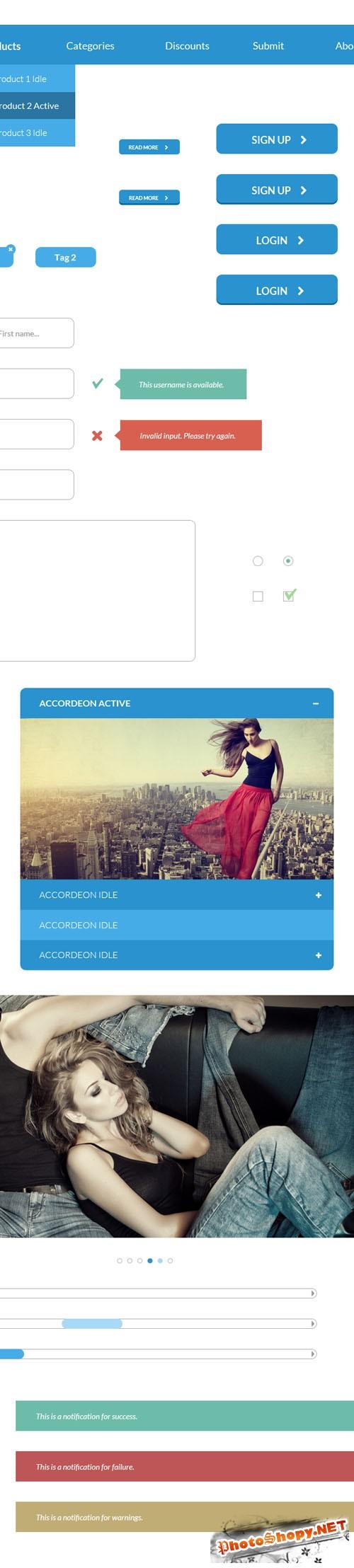 Flat UI Kit PSD Template