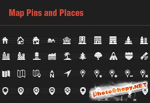 40 Vector Icons with Map Pins and Places