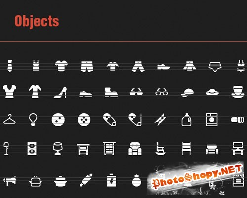 50 Vector Icons with Objects