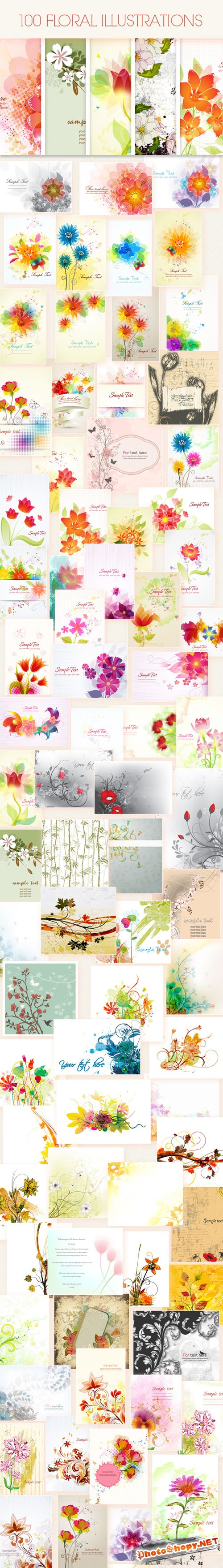 100 Floral Vector Illustrations