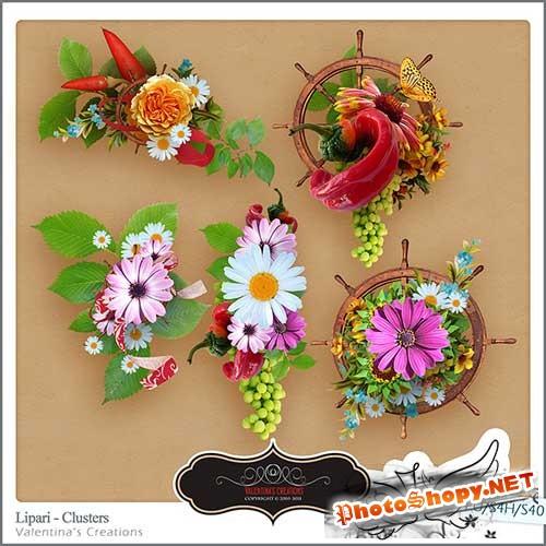 Нарисованный набор для скрапбукинга - Добро пожаловать в Липари