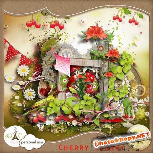 Цветочно-ягодный скрап-комплект - Вишня-вишенка