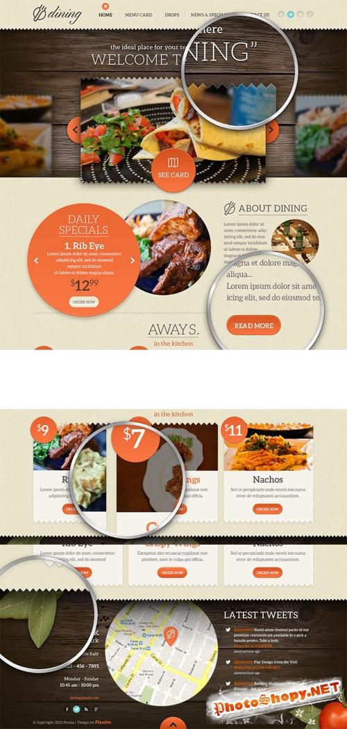 Pixeden - Dining Restaurant Psd Template