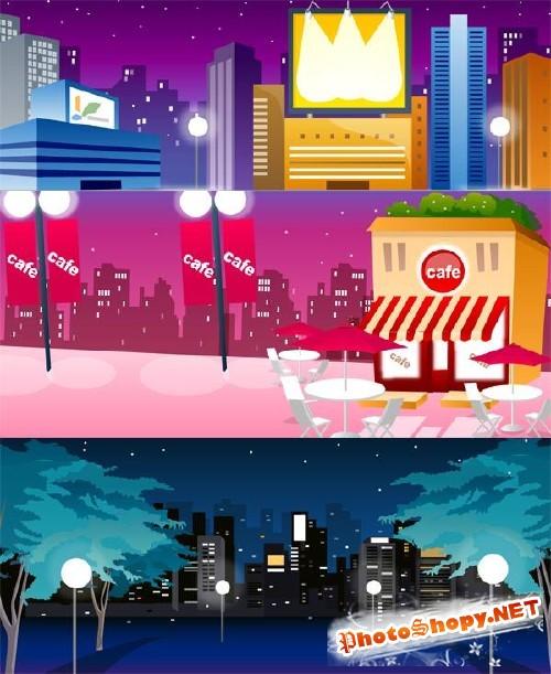 Город: ночные виды и пейзажи - векторный сток