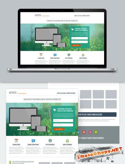 WeGraphics - Aperto - Flat Style Landing Page PSD