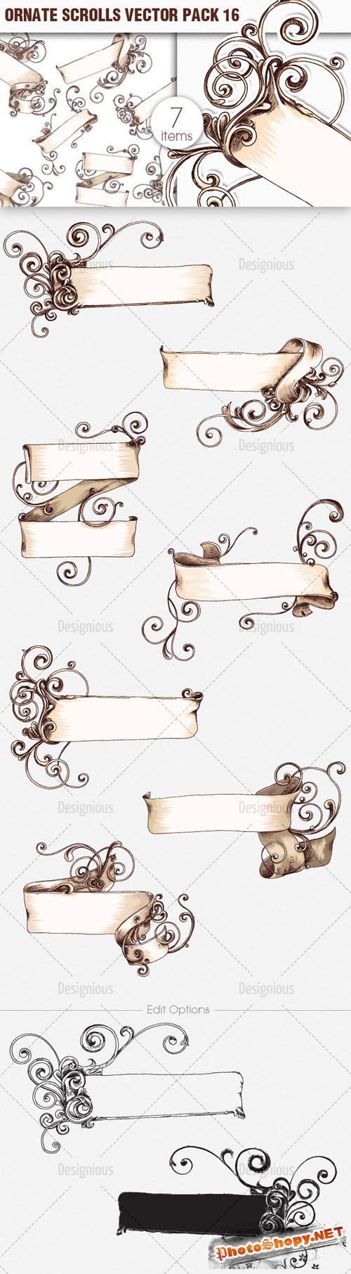 Ornate Scrolls Photoshop Vector Pack 16