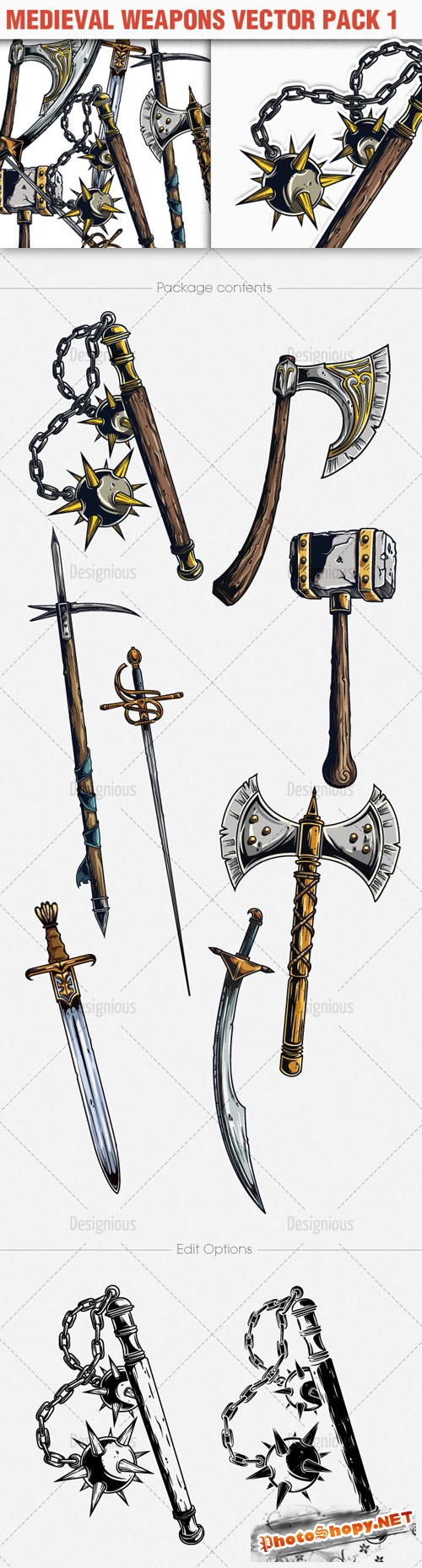 Medieval Weapons Photoshop Vector Pack 1