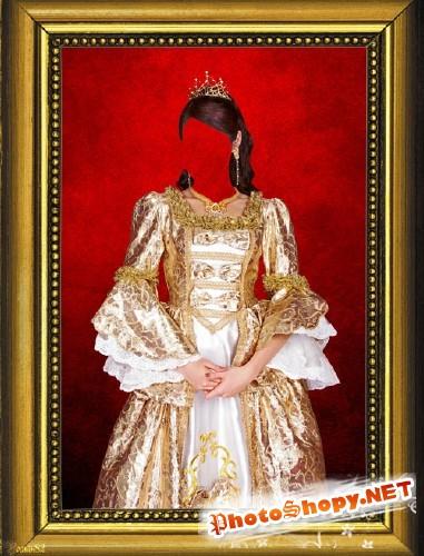 Красивое платье прошлых лет - шаблон фотошоп
