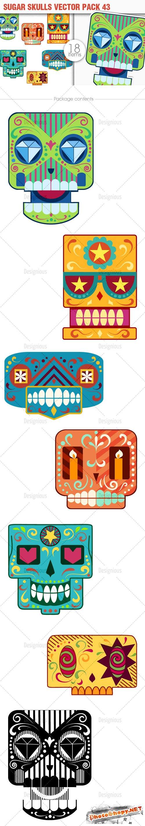 Sugar Skulls Vector Pack 43