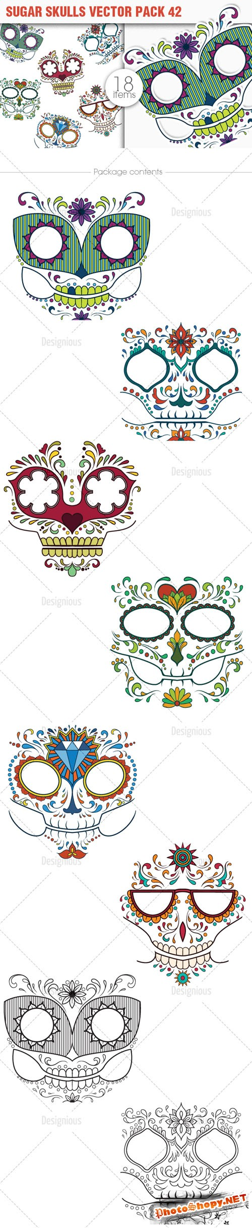 Sugar Skulls Vector Pack 42