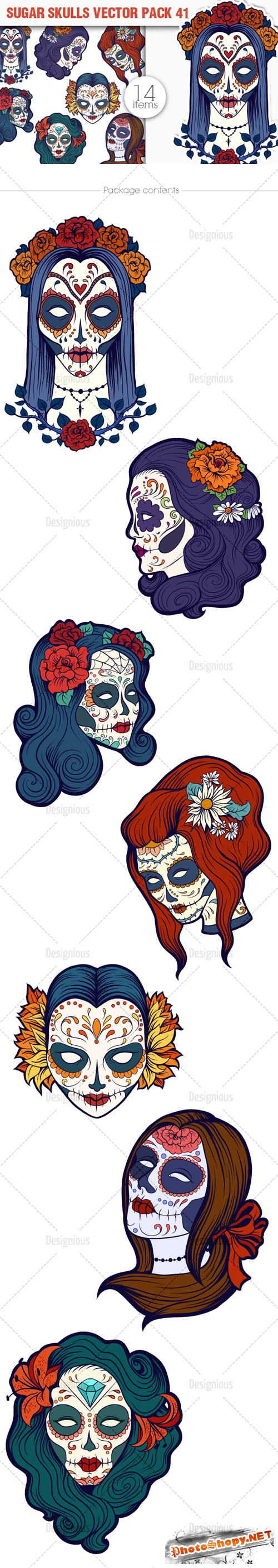 Sugar Skulls Vector Pack 41