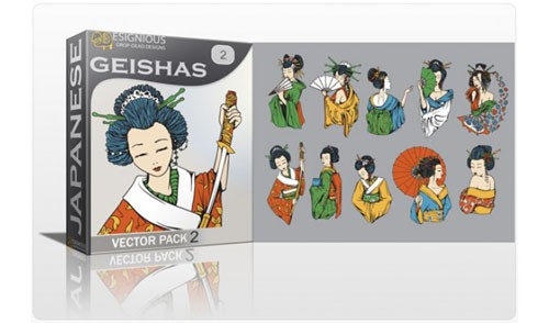 Geisha Photoshop Vector Pack 2