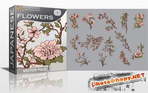 Japanese Flowers Photoshop Vector Pack 1