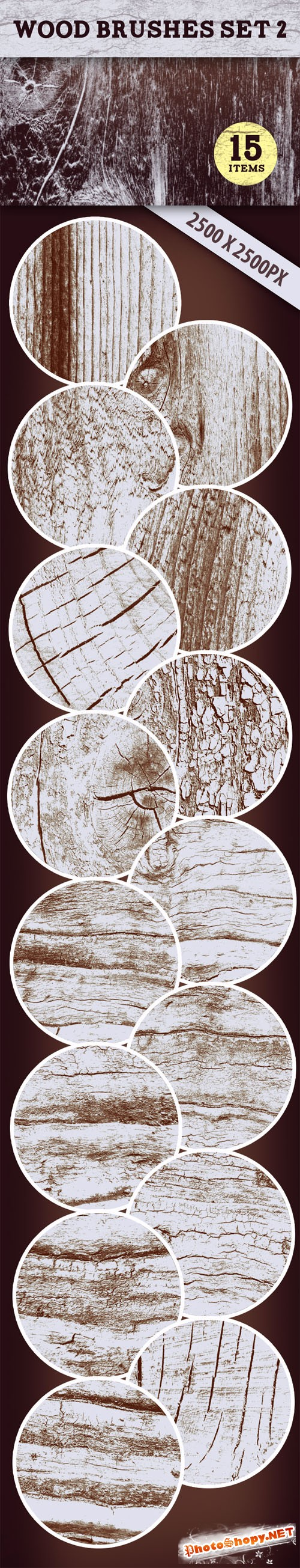 Designtnt - Wood PS Brushes Set 2