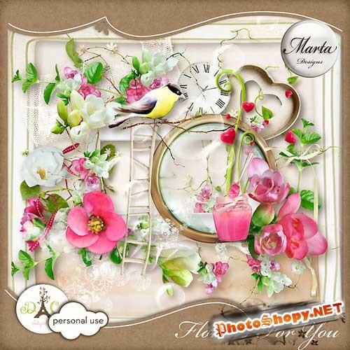 Цветочный скрап-комплект - Цветы для тебя
