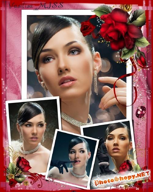Женская фоторамка с красными розами и блеском - Загадка