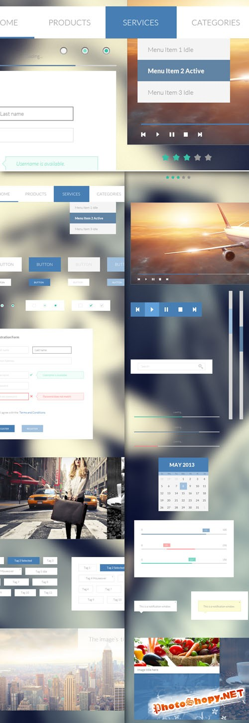 Designtnt - Minimal Blue UI Kit