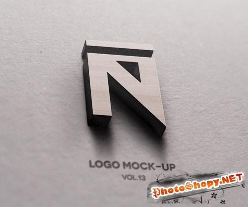 Pixeden - 3D Wood Logo Mock-Up Template