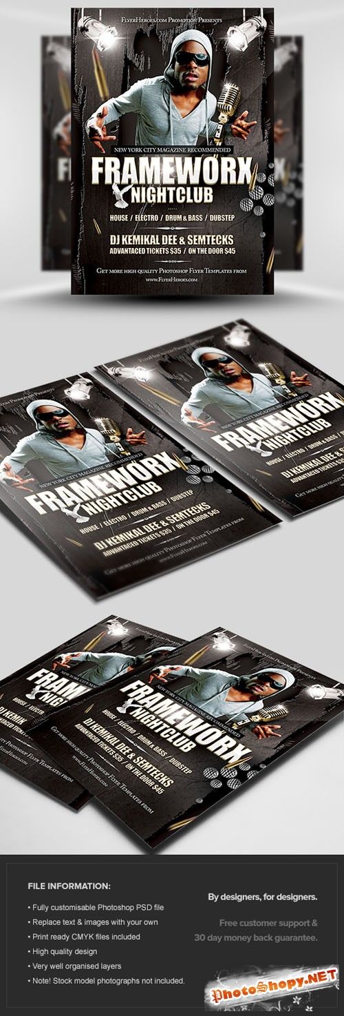 Frameworx 1 Party Flyer/Poster PSD Template