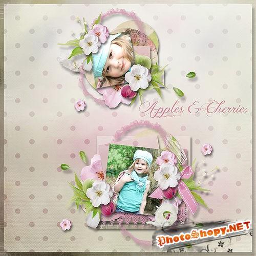 Цветочный скрап-комплект - Цвет яблони и вишни