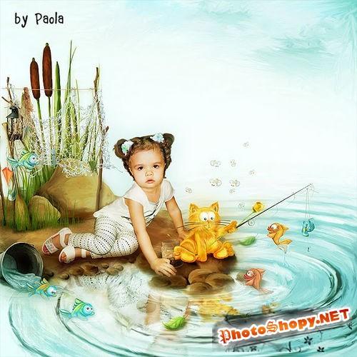 Детский скрап-комплект - История кота-рыболова