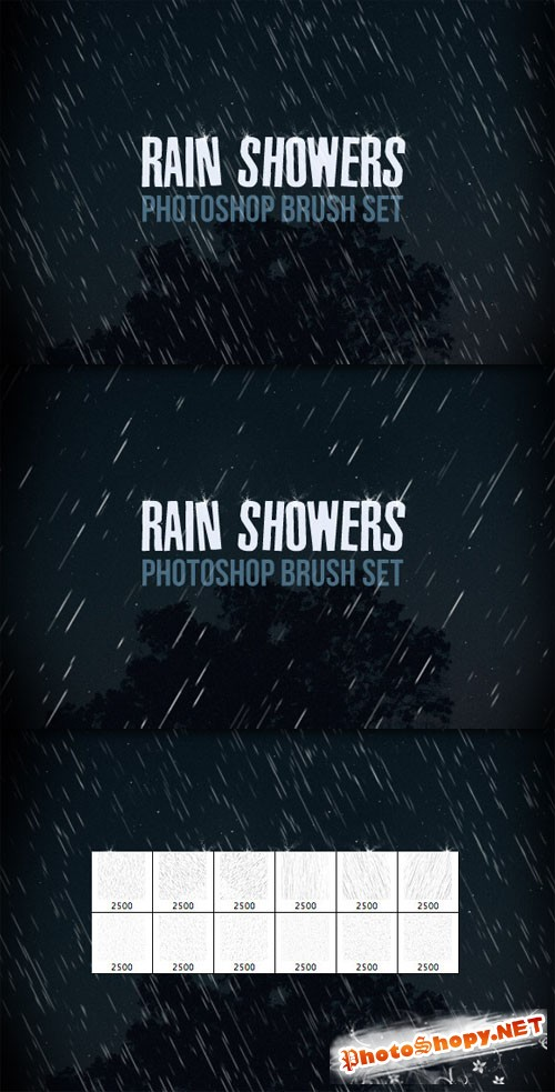 WeGraphics - Rain Shower Photoshop Brush Set