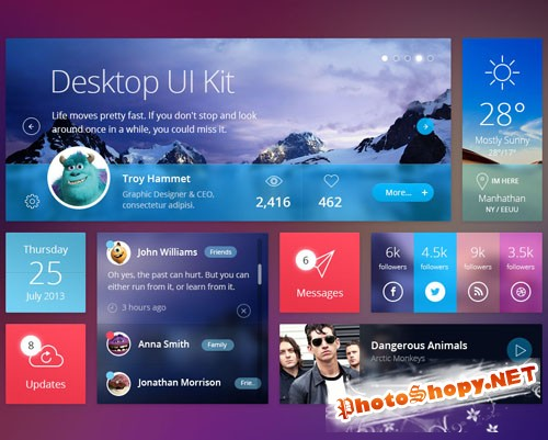 Pixeden - Flat Desktop Psd UI Kit